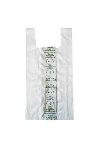 """Kukoricakeményítő alapú (EN13432) PLA ingvállas tasak 190x450x0,01 mm <b>""""Nem vagyok műanyag""""</b> (4000 db/karton)"""